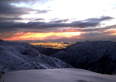 NIEVE Sunset vista a Santiago 01